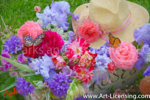 7711Art-Roses Campannula lris Butterflys Bouquet-by AYAKO