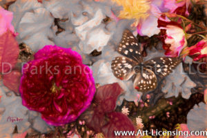 7810Art-Red Rose and Butterfly-by AYAKO