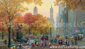 New York-Central Park Entrance Fall-by Alexander Chen