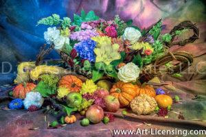 7379SArt-Harvest Time Flowers and Pumpkins