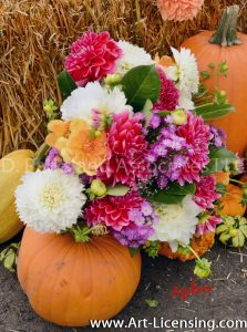 2543S-Dahlias Bouquet and Pumpkins