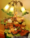 2627S-Dahlias and Nandina berries and Antique lamp