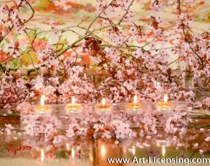 4073-Cherry Blossom and Candles in Spring