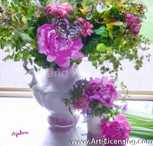 8211-Pink Peonies and Butterfly Bouquet in Spring