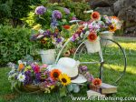 8595S-Summer Flowers on White Bicycle Stand